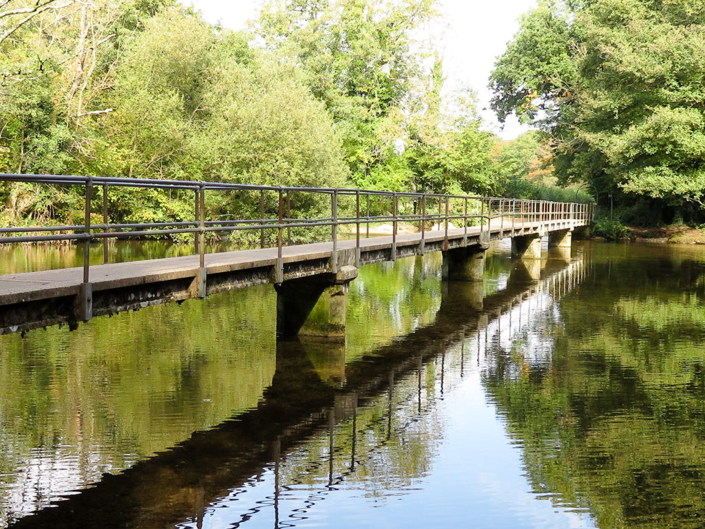 A view of the ford in Moreton, Dorset showing the footbridge with reflections in the water.